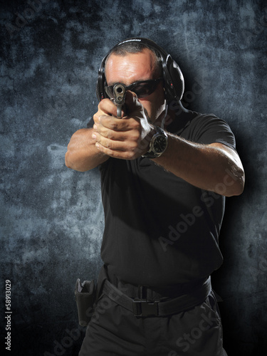 Man shooting gun