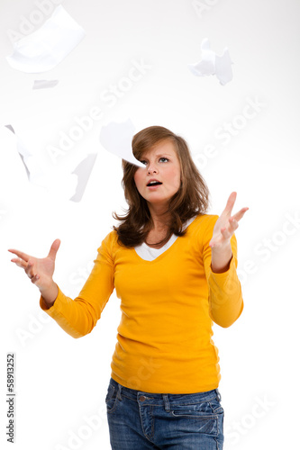 Angry young woman on white background