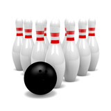 Group of Skittles with Bowling Ball
