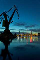 Night in shipyard of Gdansk, Poland.