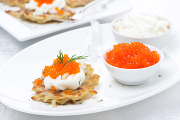 potato pancakes with red caviar on the plate