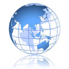 Blue globe _ eastern asia