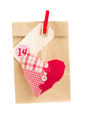 paper bag  for valentines day with heart
