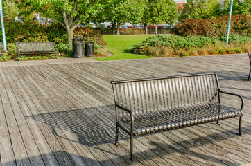 Metal Bench on a Boardwalk