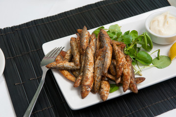 Whitebait with garlic mayonnaise