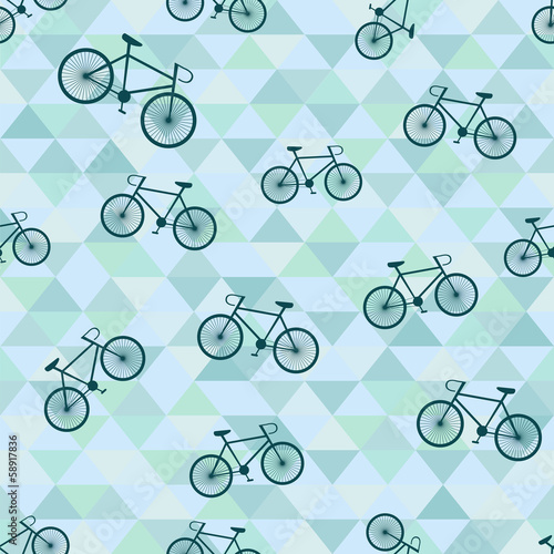 Cotton fabric Seamless background with bicycle and triangles