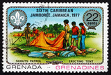 Postage stamp Grenada 1977 Erecting Tent poster