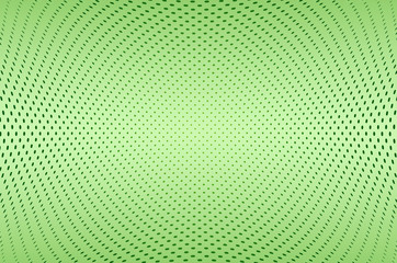 abstract green background with dots array in a concave shape