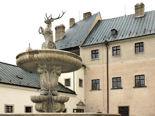 The courtyard of castle Cerveny Kamen in Slovakia