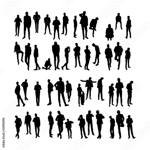 Vector Model Silhouettes of men. Part 8.