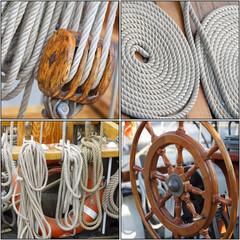 Collage maritimer Details von alten Segelschiffen
