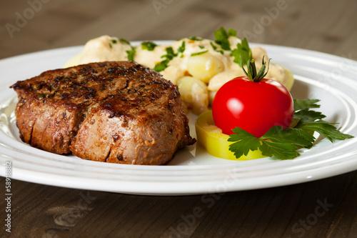 Beef steak with gnocchi and gorgonzola sauce