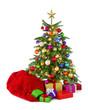 Bunter Weihnachtsbaum mit Geschenksack