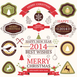 Vector collection of Christmas and New year's elements