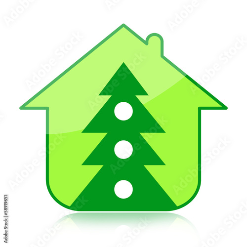 Christmas tree and family home isolated on white