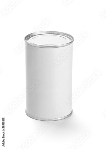 white tin can metal container template blank package