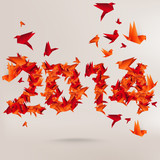 Number 2014 with origami birds