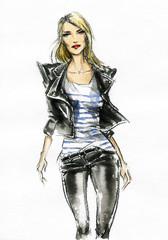Beautiful woman. watercolor illustration