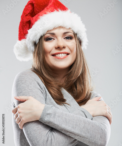 Christmas Santa hat isolated woman portrait.