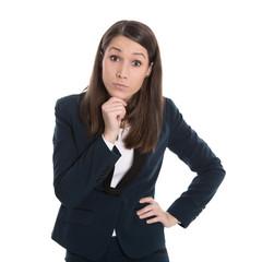 Fragender hilfloser Blick einer jungen Frau isoliert