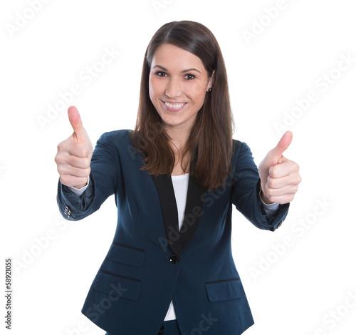 Überglückliche Geschäftsfrau lachend mit Daumen isoliert