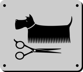 grooming dog sign with scissors