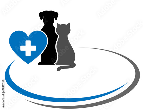 background with pets and heart