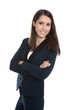 Attraktive junge Geschäftsfrau isoliert im Hosenanzug
