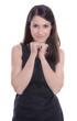 Hübsche junge Frau lachend in Shirt isoliert in Schwarz