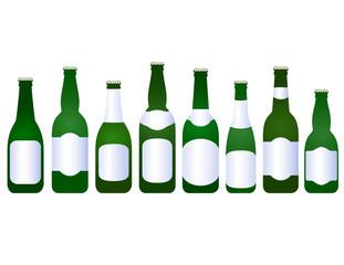 set of beer bottles with blank label