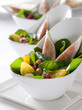 Gourmet salads with fruit and vegetables.