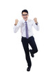 Businessman with clenched fist success isolated