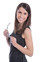 Schöne attraktive brünette Frau in Business Kleidung isoliert