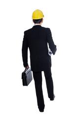 Businessman walking on white background