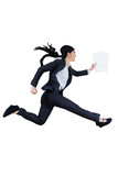Businesswoman runs by holding business paper