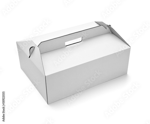 white box cake food container template blank package