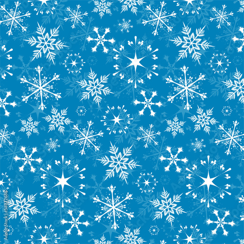 Seamless vector pattern - white snowflakes on blue background