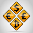 Euro, Dolar, Pound, Bitcoin traffic board
