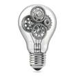 Lamp bulb and gears. Perpetuum mobile idea concept.