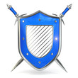 Shield and sword. Security concept. 3d