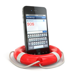 Mobile emergency service. Cellphone on white isolated background
