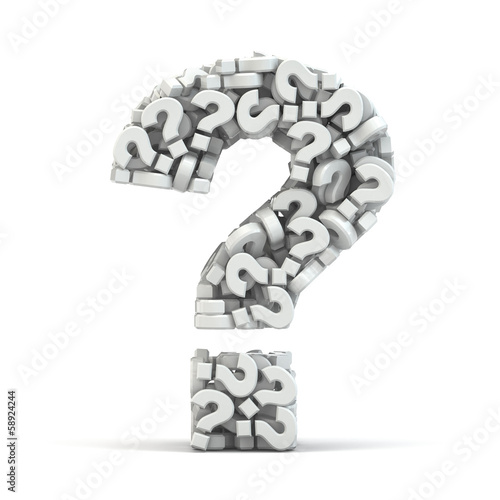 Question symbol on white isolated background. Three-dimensional