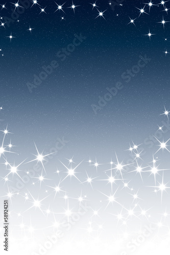Abstract Christmas Night Sky Frame with Stars Blue White Gradien