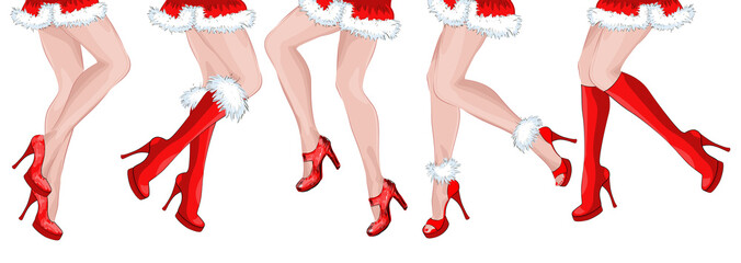 Legs of five dancing girls Santa Claus