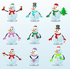 Разноцветные снеговики