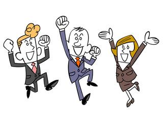 同僚と喜ぶビジネスマン