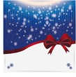 background with snowfall and elegant red ribbon