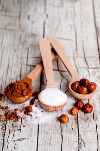 sugar, hazelnuts and cocoa powder