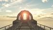 lever de soleil sur une structure futuriste