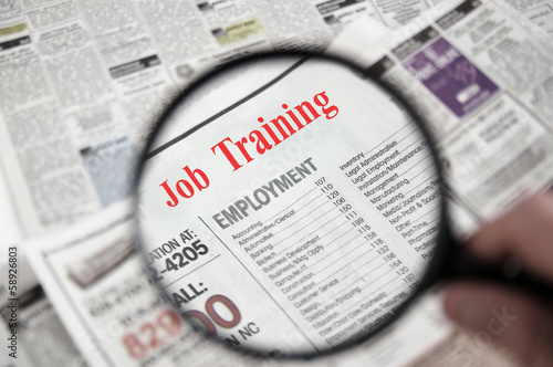 newspaper classified section with Job Training text